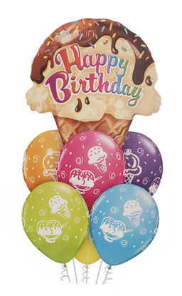 Picture of Balloon Bouquet -  Happy Birthday Ice Cream Cone (7pc)