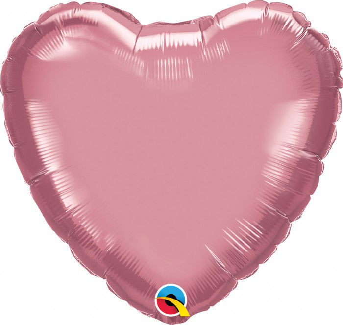 """Picture of 18"""" Chrome Mauve Heart  (helium-filled)"""
