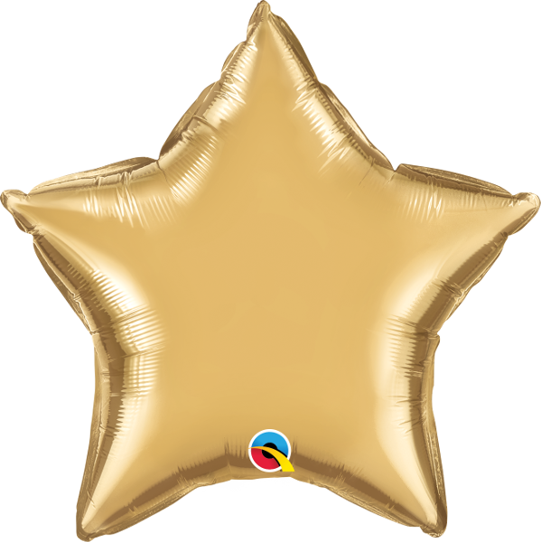 "Picture of 20"" Chrome Gold Star  (helium-filled)"