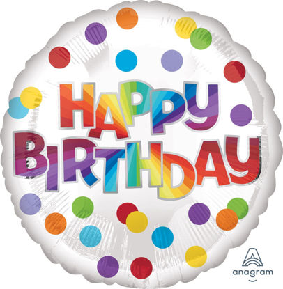Picture of 17''Happy Birthday Dots of Color (helium-filled)