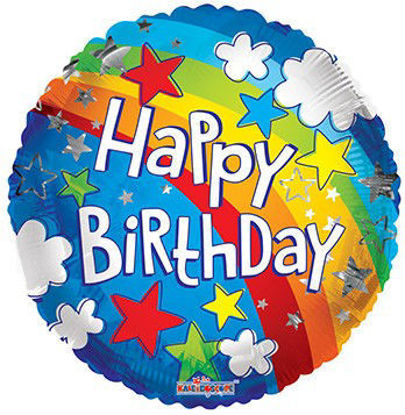 Picture of 18''Happy Birthday Rainbow Print Foil Balloon (helium-filled)