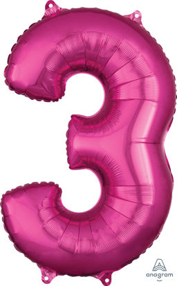 Picture of 26''Hot Pink Number 3 - Foil Balloon (helium-filled)