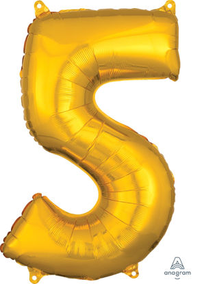 Picture of 26'' Gold Number 5 - Foil Balloon (helium-filled)