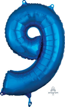 Picture of 26''Blue  Number 9 - Foil Balloon (helium-filled)