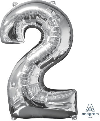Picture of 26'' Silver Number 2 - Foil Balloon (helium-filled)