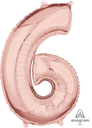 Picture of 26'' Rose Gold Number 6 - Foil Balloon (helium-filled)