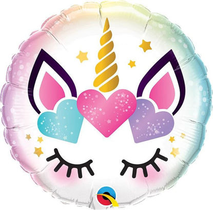 Picture of 18'' Unicorn Eyelashes Microfoil Balloon (helium-filled)