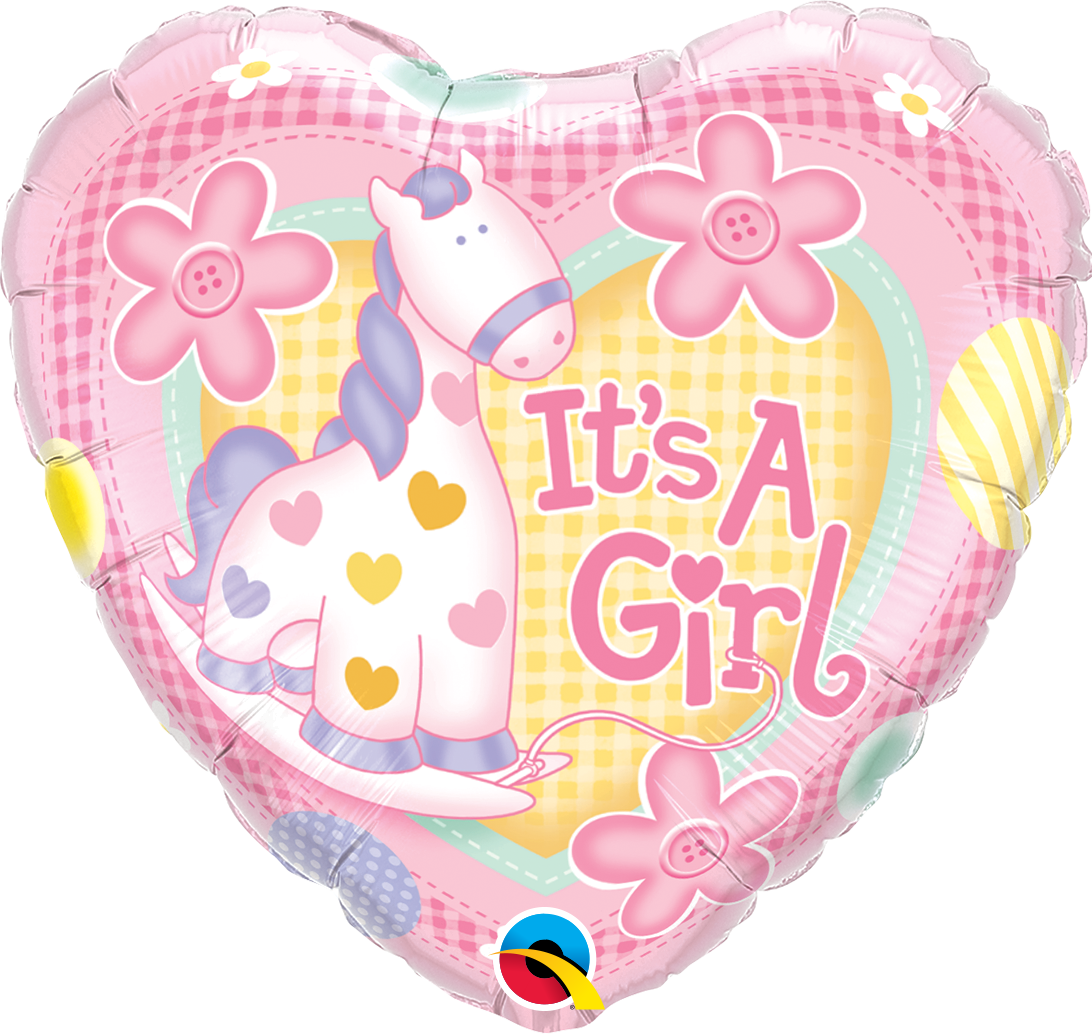 """Picture of 18"""" It's A Girl Soft Pony Foil Balloon  (helium-filled)"""