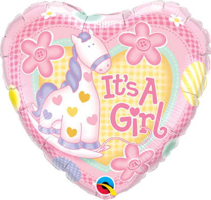 "Picture of 18"" It's A Girl Soft Pony Foil Balloon  (helium-filled)"