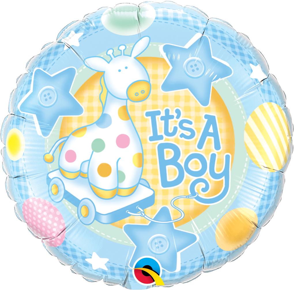 "Picture of 18"" It's A Boy Soft Giraffe Foil Balloon  (helium-filled)"