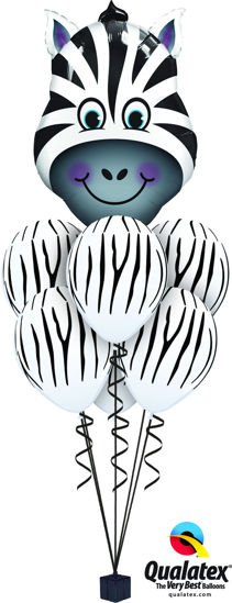 Picture of Zany Zebra Balloon Bouquet (helium-filled)