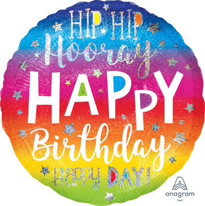 Picture of 18'' Holographic Hip Hip Hooray Birthday Balloon (helium-filled)