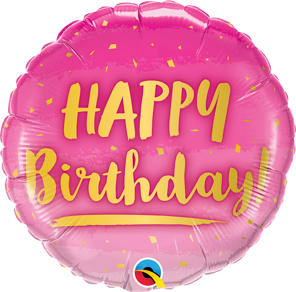Picture of 18''  Birthday Gold & Pink Balloon (helium-filled)
