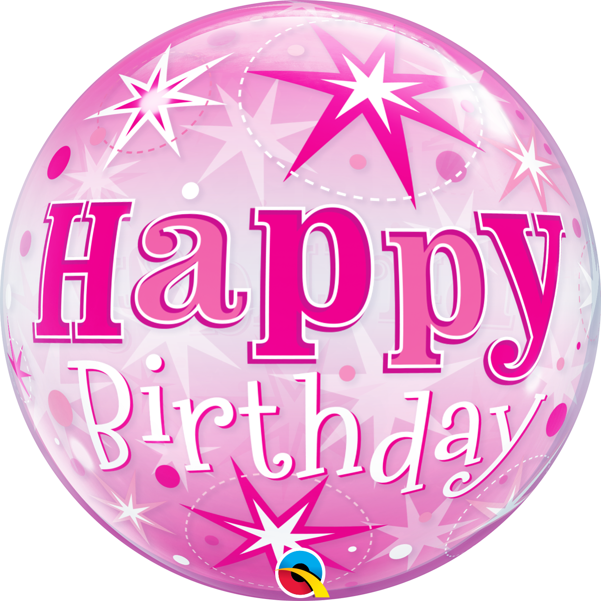Picture of 22″ Birthday Pink Starburst Sparkle Single Bubble  (helium-filled)