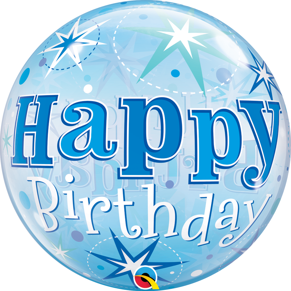 Picture of 22″ Birthday Blue Starburst Sparkle Single Bubble  (helium-filled)