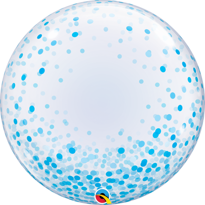 "Picture of 24"" Deco Bubble - Blue Confetti Dots  (helium-filled)"