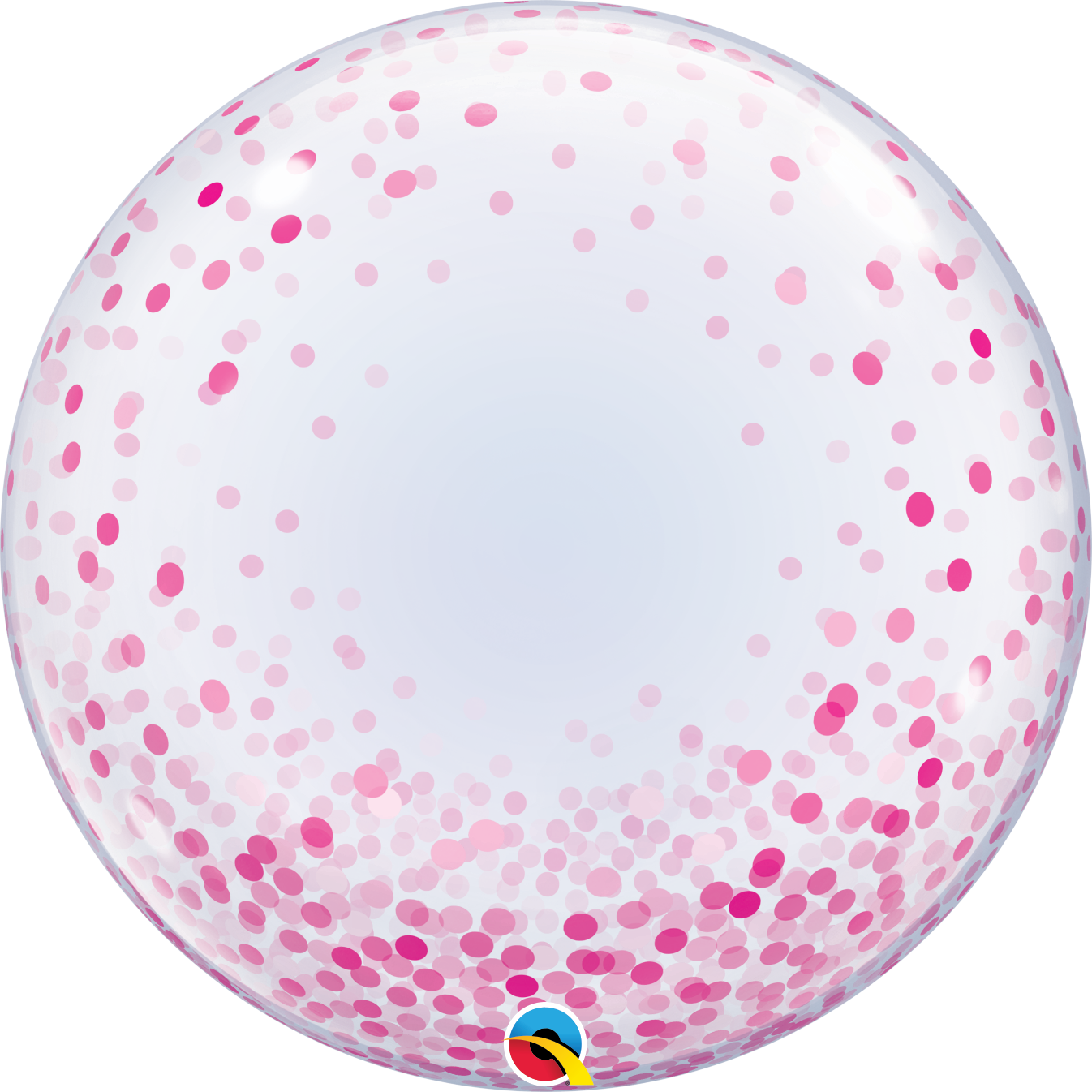"Picture of 24"" Deco Bubble - Pink Confetti Dots  (helium-filled)"