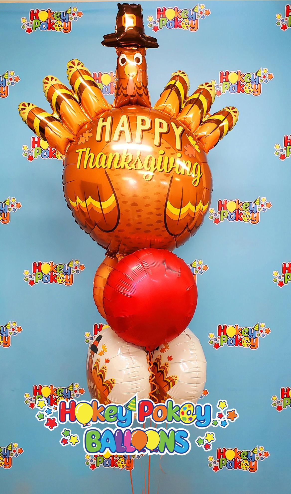 "Picture of 38"" Thanksgiving Pilgrim Turkey Foil Balloon  (helium-filled)"
