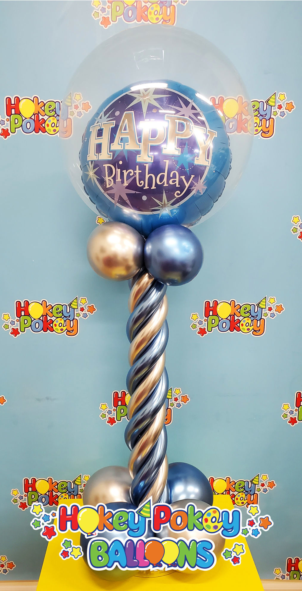 Picture of Happy Birthday Topiary -  Balloon Centerpiece  (air inflated)