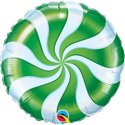 "Picture of 18"" Round Green Candy Swirl Foil Balloon (helium-filled)"