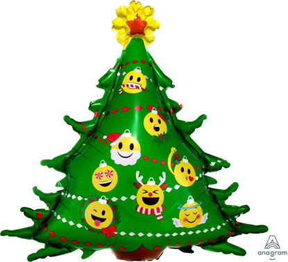 "Picture of 34""  Emoticon Christmas Tree Foil Balloon (helium-filled)"
