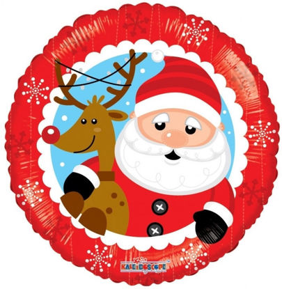 "Picture of 18"" Santa & Reindeer Foil Balloon  (helium-filled)"