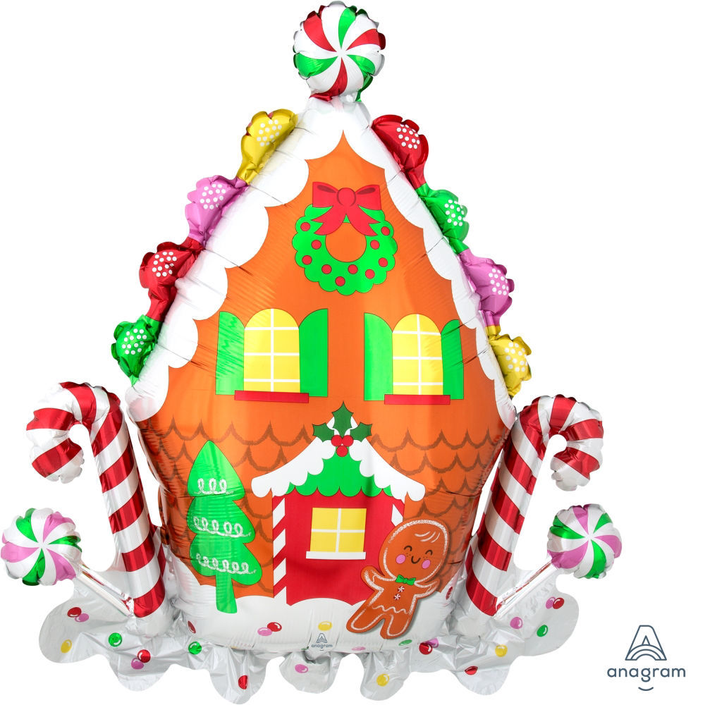 Picture of Gingerbread House & Holiday Cookies Balloon Bouquet (5 pc)