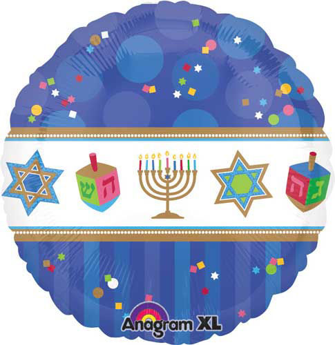 "Picture of 18"" Hanukkah Celebrations Foil Balloon (helium-filled)"