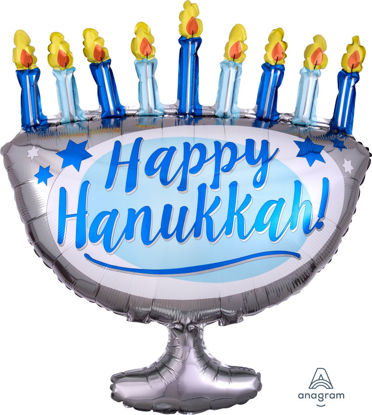 "Picture of 29"" Happy Hanukkah Menorah Foil Balloon (helium-filled)"