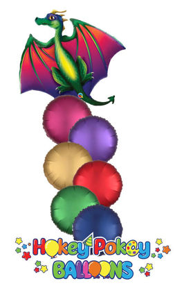 "Picture of 45"" Mythical Dragon Foil Balloon Bouquet ( 7 pc )"