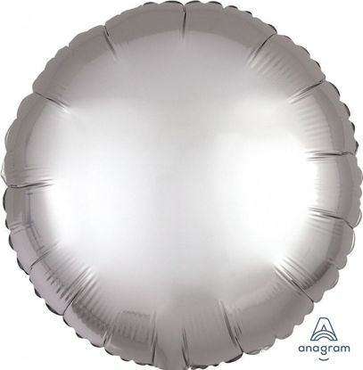 "Picture of 18"" Satin Luxe Platinum Circle Foil Balloon (helium-filled)"