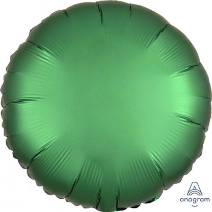 "Picture of 18"" Satin Luxe Emerald Circle Foil Balloon (helium-filled)"