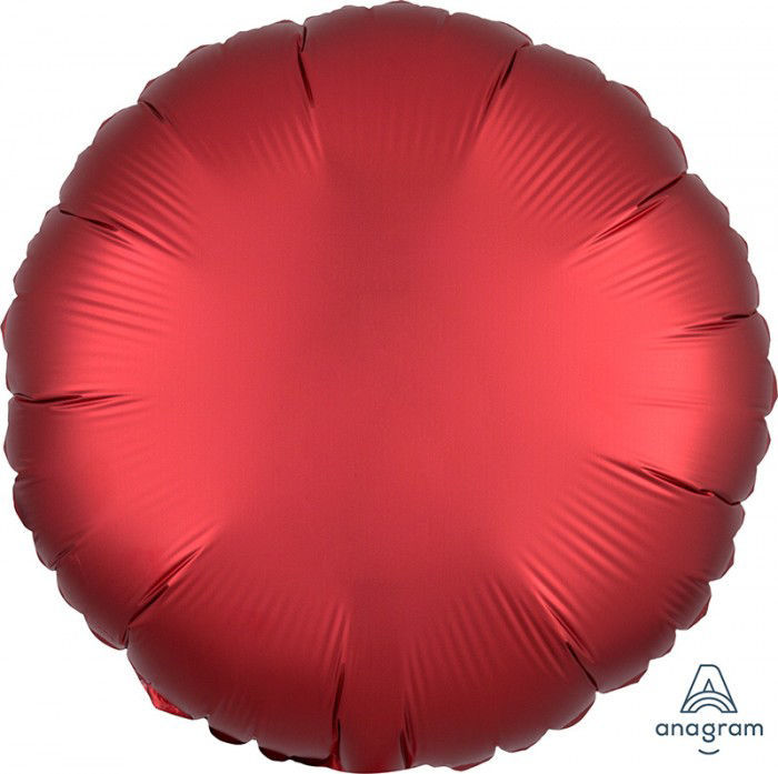 """Picture of 18"""" Satin Luxe Sangria Circle Foil Balloon (helium-filled)"""