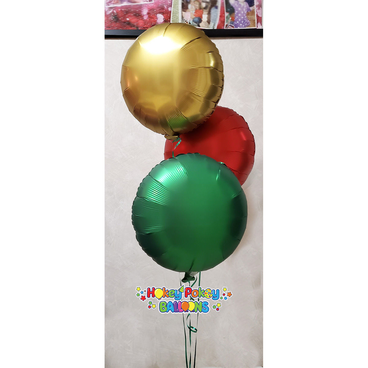 Picture of Festive Satin Luxe Circle Foil Balloon Bouquet ( 3 pc )