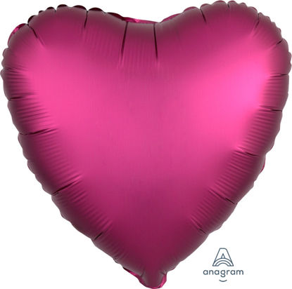 "Picture of 18"" Satin Luxe Pomegranate Heart Foil Balloon (helium-filled)"