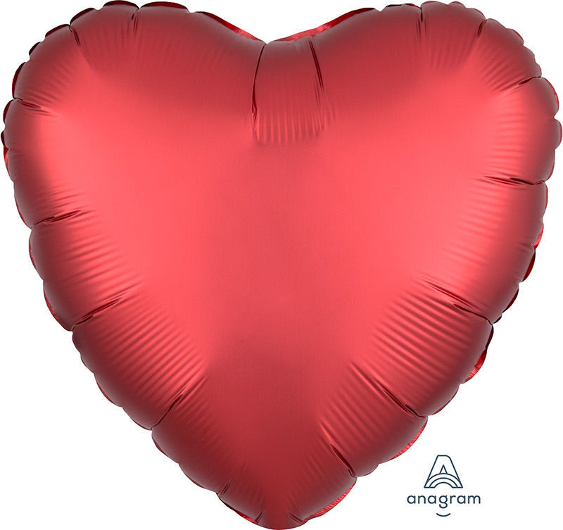 "Picture of 18"" Satin Luxe Sangria Heart Foil Balloon (helium-filled)"