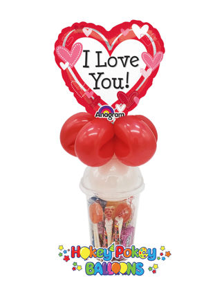 Picture of I Love You Dotted Hearts  - Balloon Candy Cup
