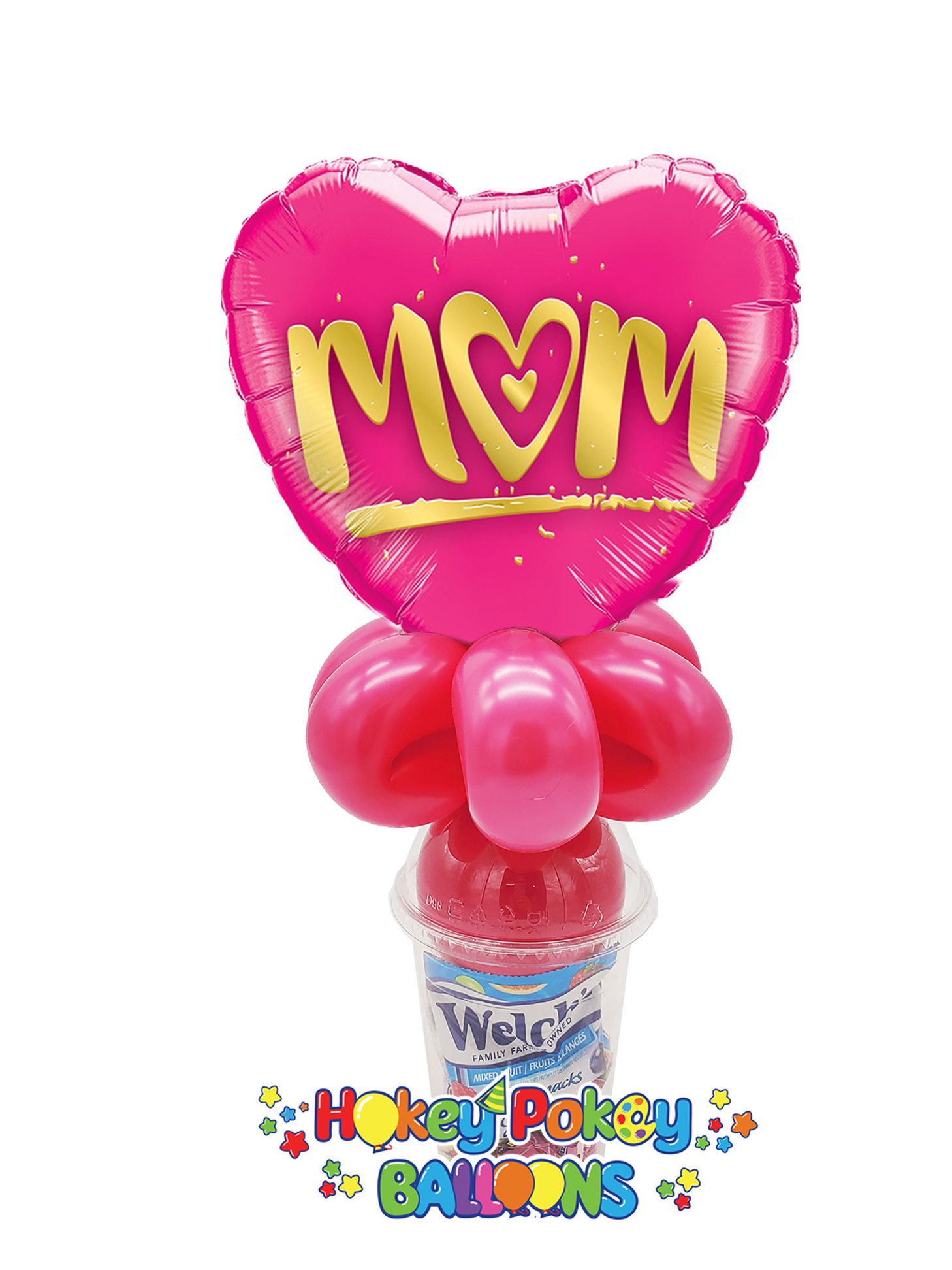 Picture of M(Heart)M Pink and Gold Heart  - Balloon Candy Cup