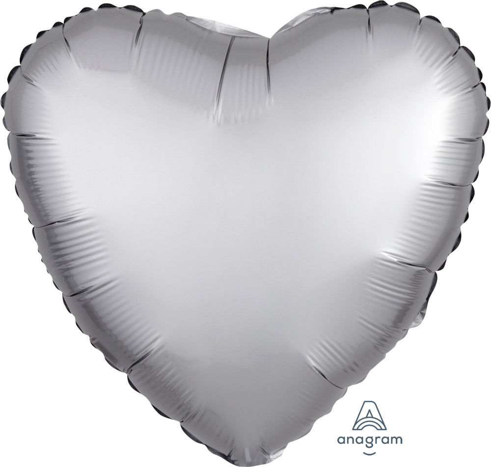 """Picture of 18"""" Satin Luxe Platinum Heart Foil Balloon (helium-filled)"""