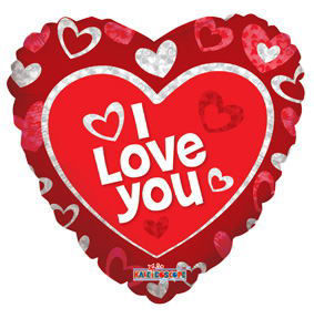 """Picture of 18"""" I Love You Floating Hearts - Foil Balloon  (helium-filled)"""