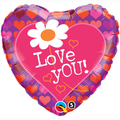 "Picture of 18"" Love You! Daisy Heart Foil Balloon  (helium-filled)"