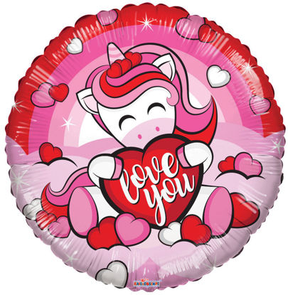 "Picture of 18"" Love You! Unicorn with Heart - Foil Balloon  (helium-filled)"