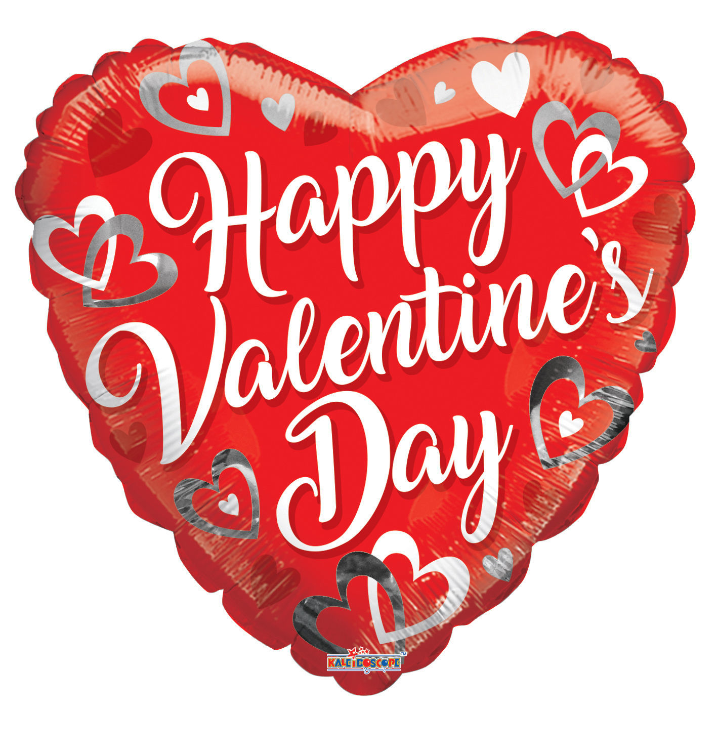 "Picture of 18"" Happy Valentine's Day with White and Silver Hearts - Foil Balloon  (helium-filled)"
