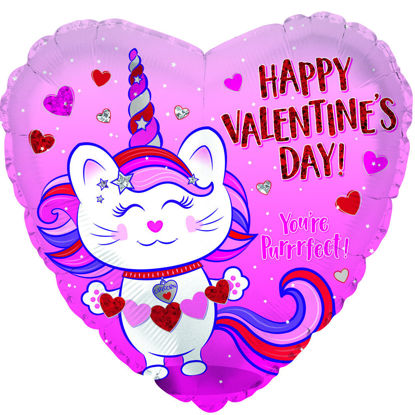 "Picture of 18"" Happy Valentine's Day Caticorn - Heart Foil Balloon  (helium-filled)"