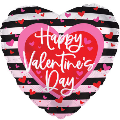 "Picture of 18"" Happy Valentine's Day with Stripy Heart Foil Balloon  (helium-filled)"