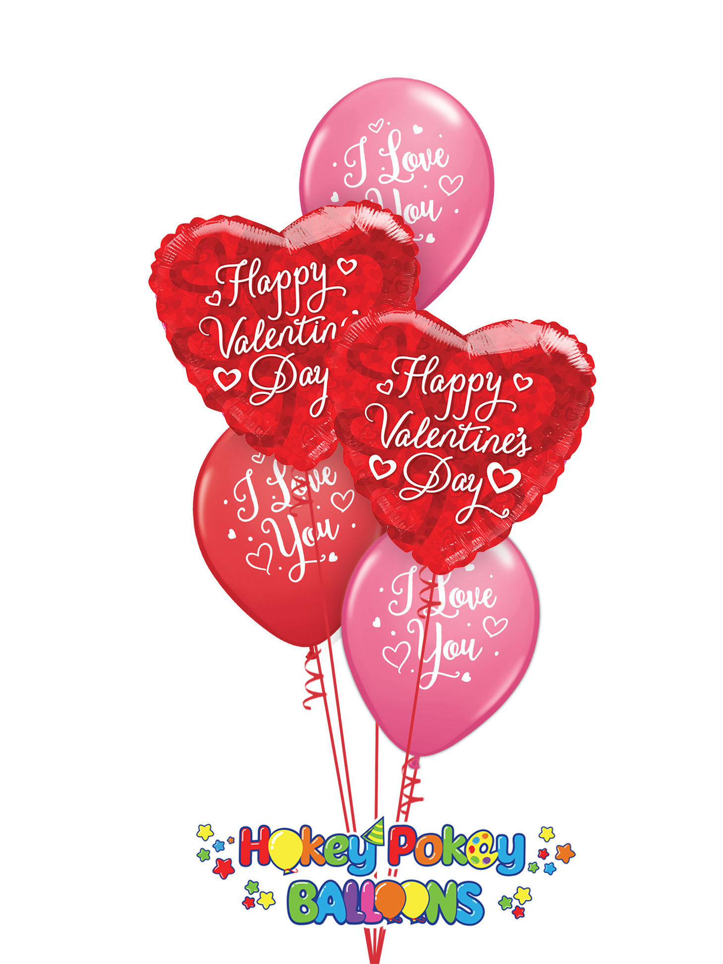 Picture of I love You! Valentine's Balloon Bouquet of 5
