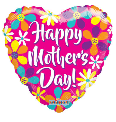 "Picture of 18"" Happy Mother's Day Pink Heart With Flowers - Foil Balloon  (helium-filled)"