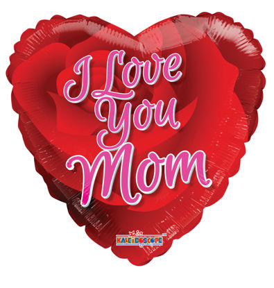 "Picture of 18"" I Love You Mom Rose - Foil Balloon  (helium-filled)"