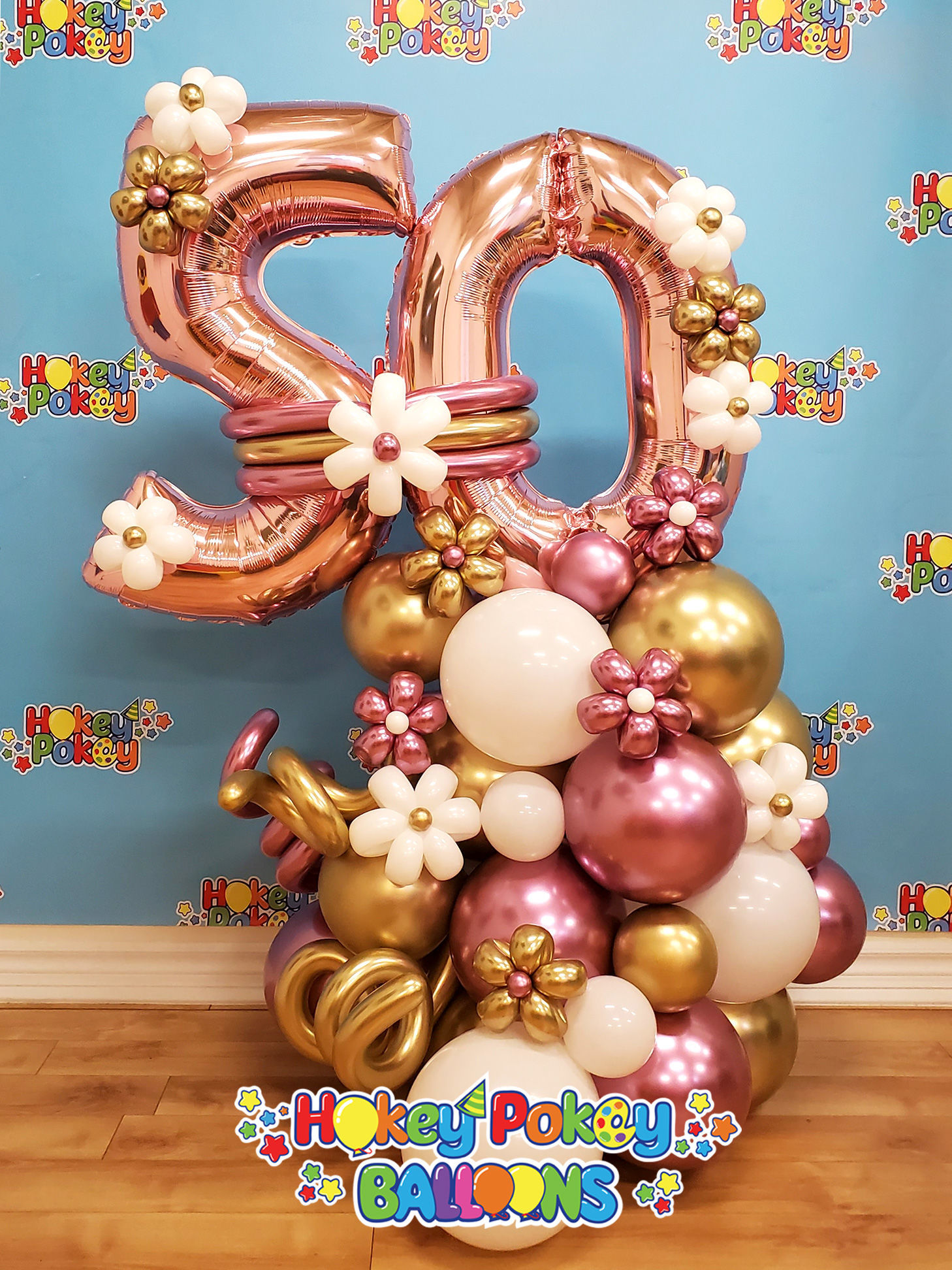 Picture of Balloon Number Arrangement with flowers