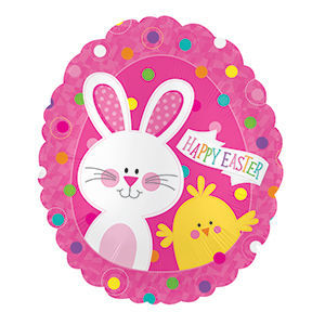 "Picture of 20"" Happy Easter Bunny & Chick - Foil Balloon  (helium-filled)"